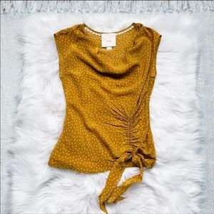 Anthropologie Maeve Yellow Polka Dot Top